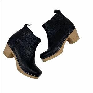 Scandic Edith Zipper Black Leather Clog Boots 39